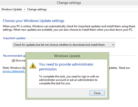 Windows 8.1 You need to provide administrator permission You need to provide administrator permission   Windows 8.1 Disable Updates