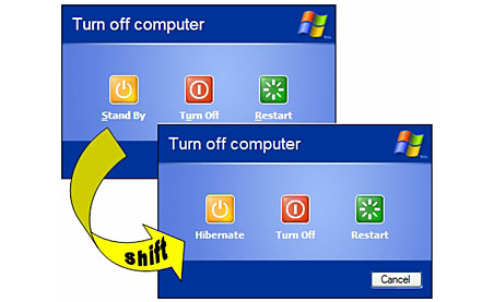 shutdown shift hibernate Windows XP Cum creezi un buton de hibernare în Windows 7