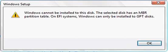 Windows cannot be installed to this disk, MBR in GPT sau GPT